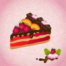 Free Piece Of Birthday Chocolate Cake Stock Images - 32744874