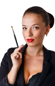 Girl With A Brush For Makeup Stock Photo