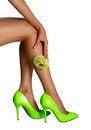Free Rose Flower Near Female Legs Stock Image - 32751291