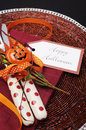 Free Happy Halloween Table Place Setting With Red Polka Dot Cutlery. Close Up. Royalty Free Stock Images - 32757219