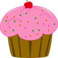 Free Cup Cake With Red  Cherry Royalty Free Stock Image - 32757236