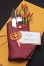 Free Happy Halloween Table Place Setting With Red And Orange Napkins - Aerial. Stock Image - 32757251