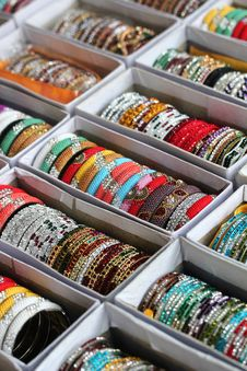 Collection Of Beautiful Indian Colorful Bangles In Vibrant Color Royalty Free Stock Images