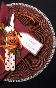 Happy Halloween Table Place Setting With Red Polka Dot Cutlery - Vertical. Royalty Free Stock Photos