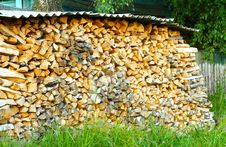 Free Firewood In A Large Number Of Stacked In A Pile Stock Photos - 32758213
