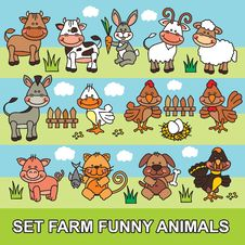Free Set Funny Cartoon Farm Animals Royalty Free Stock Photography - 32774167