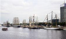 Riga.Sailing Vessels Of The International Regatta In Port. Royalty Free Stock Photos