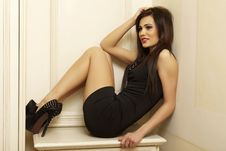 Free Beautiful And Attractive Female Woman Posing In Black Dress Royalty Free Stock Images - 32790009