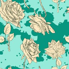 Free Vintage Seamless Pattern With Roses Royalty Free Stock Image - 32790996