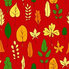 Free Seamless Vector Pattern With Leaves Stock Image - 32791071