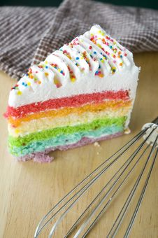 Free Rainbow Cake With Kitchenware Royalty Free Stock Photos - 32793958