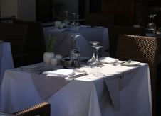 Free Terrace Restaurant Table Waiting For Guests Royalty Free Stock Images - 32796969