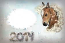 Free Horse On Christmas Card. Stock Image - 32798051