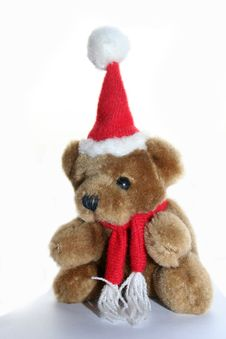 Free Teddy Bear In Christmas Cap Royalty Free Stock Photo - 3280365