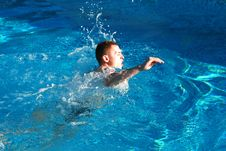 Free Man Swimming In The Pool Royalty Free Stock Photos - 3280648