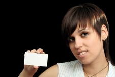 Free Girl With Notecard Royalty Free Stock Photography - 3282207