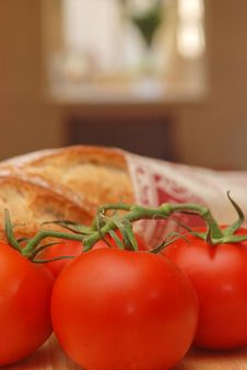 Sunny Tomatoes And Bread Stock Photo