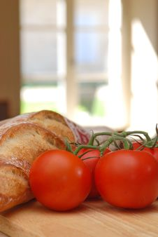 Tomato, Bread And Window Royalty Free Stock Images