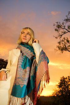 Free Blond Girl On Sunset Sky Royalty Free Stock Image - 3283766