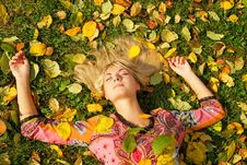Blond Girl Lying On The Leaves Royalty Free Stock Image