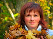 Free Woman With Autumn Leaves Royalty Free Stock Photo - 3284185