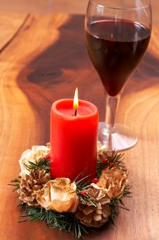 Free Christmas Candle And Wine Stock Images - 3289854