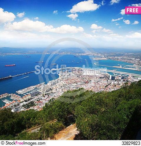 Free Aerial View Of Gibraltar Stock Photos - 32829823