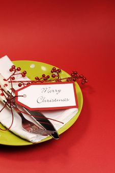 Lime Green And Red Merry Christmas Table Place Setting. Vertical With Copy Space For Your Text Here. Royalty Free Stock Photo