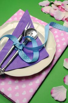 Free Purple & Pink Hearts Dinner Table Place Setting - Vertical Stock Images - 32821414