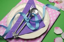 Free Purple & Pink Hearts Dinner Table Place Setting. Stock Images - 32821434