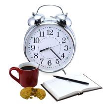 Free Clock With Tea And Coffee Royalty Free Stock Photos - 32824468