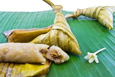 Free Ketupat Stuff Banana Fruit On Leaf,Thai Royalty Free Stock Photography - 32834707