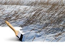 Paintbrush Painting Winter Colors Stock Image