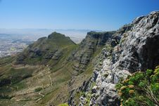 Table Mountain And Devil S Peak From Upper Cableway Station. Cape Town, Western Cape, South Africa
