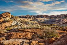 Free Rocky Landscape In Valley Of Fire With Cloudy Sunset Royalty Free Stock Image - 32869086