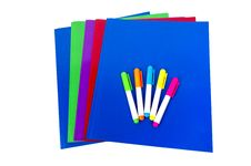 Colorful Folders With Highlighters Isolated Stock Image