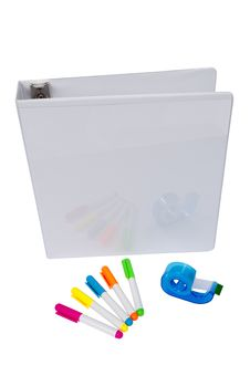 Free Notebook With Highlighters And Tape With Copy Space Stock Photos - 32869763