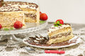 Free Homemade Nutty Cake With Strawberries And Slice Of Cake Stock Photo - 32874180