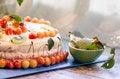 Free Bird-cherry Flour Cake With Cherries, Strawberries And Kiwi Stock Image - 32874331