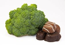Free Broccoli For The Body, Chocolate For The Soul Royalty Free Stock Images - 32875939
