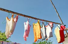 Free Dry Clothes In The Air Royalty Free Stock Image - 32879206