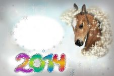 Free Horse On Christmas Card. Royalty Free Stock Photo - 32879365