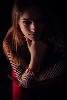 Free Beautiful Thoughtful Girl Close Up In The Dark Royalty Free Stock Photography - 32884527