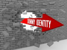 Free Arrow With Words Dummy Identity Breaking Brick Wall. Royalty Free Stock Image - 32888046