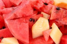 Red Watermelon And Melon Slices On Dish Stock Photography