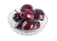 Ripe Plums In A Dish Stock Images