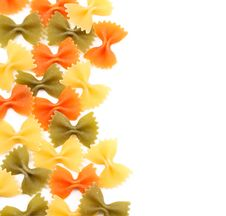 Free Background Of The Farfalle Pasta Three Colors. Royalty Free Stock Photo - 32889955