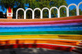 Free Rainbow Colored Benches Stock Photo - 3294880