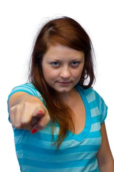 Free Young Woman - Pointing Finger Royalty Free Stock Photos - 3290088