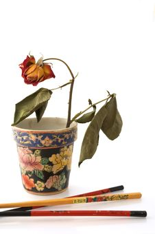 Free Chopsticks And Wilted Rose Stock Image - 3290371